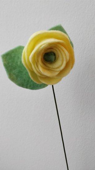 Yellow felt rose