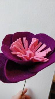 Purple felt flower